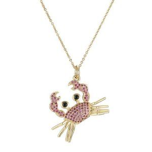 Gold Hot Pink Cubic Zirconia Cute Crab Necklace